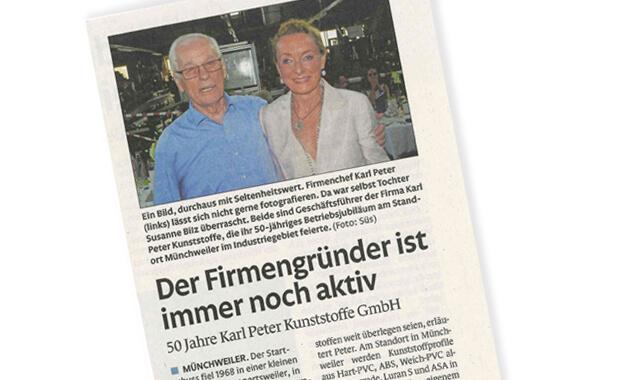 Presseartikel zum 50-jährigen Bestehen der Karl Peter Kunststoffprofile – 50 Jahre geballte Erfahrung in der Entwicklung und Produktion von Kunststoffprofilem höchster Qualität und eigenem Werkzeugbau.
